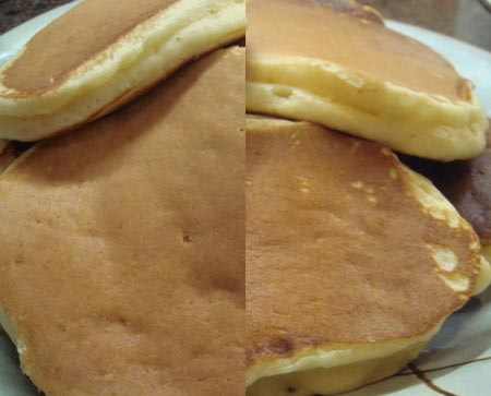 On left, traditional milk pancakes vs. 7Up pancakes on the right.