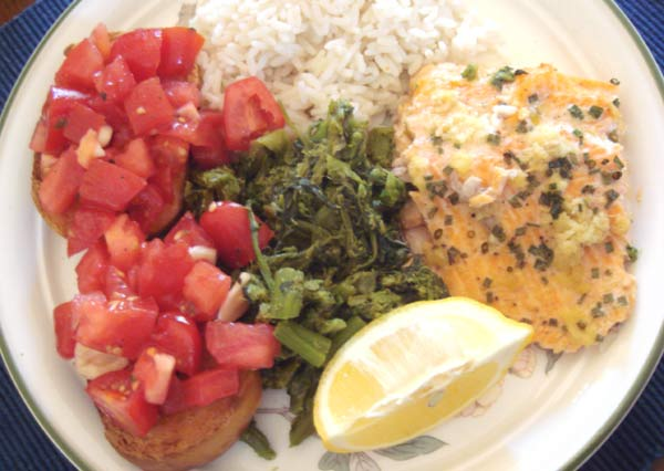 Ginger and Garlic Salmon with Rice, Broccoli raab and Bruschetta