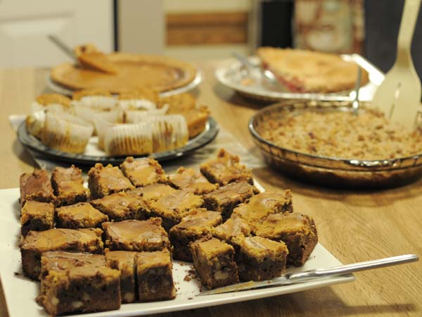 Thanksgiving Dessert with Pumpkin Brownies in foreground