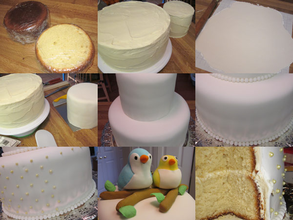 The stages of building the wedding cake.